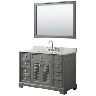 Tamara 48-inch Dark Gray Single Vanity, Oval Sink, 46-inch Mirror