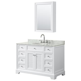 Tamara 48-inch White Single Vanity, Oval Sink, Med Cab