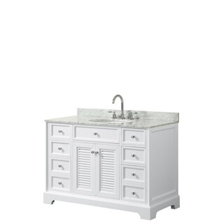 Tamara 48-inch White Single Vanity, Oval Sink, No Mirror