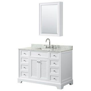Tamara 48-inch White Single Vanity, Square Sink, Med Cab