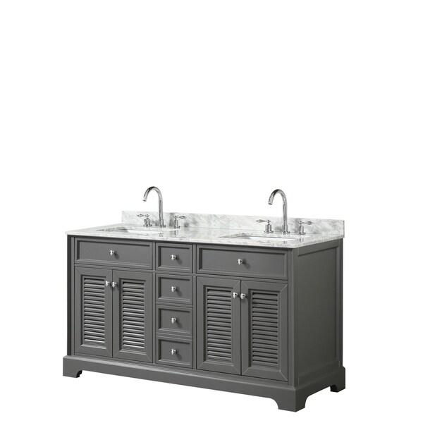 Tamara 60-inch Dark Gray Double Vanity, Square Sinks, No Mirror