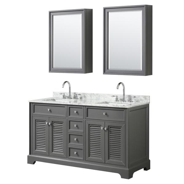Tamara 60-inch Dark Gray Double Vanity, Square Sinks, Med Cabs