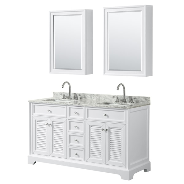 Tamara 60-inch White Double Vanity, Square Sinks, Med Cabs