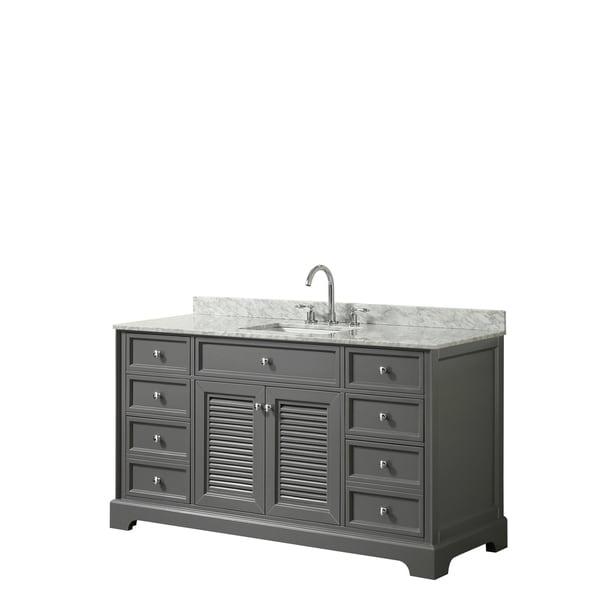 Tamara 60-inch Dark Gray Single Vanity, Square Sink, No Mirror