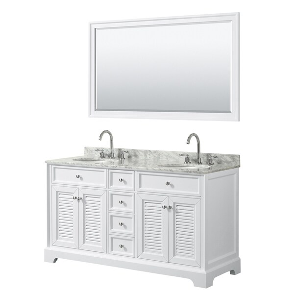 Tamara 60-inch White Double Vanity, Oval Sinks, 58-inch Mirror