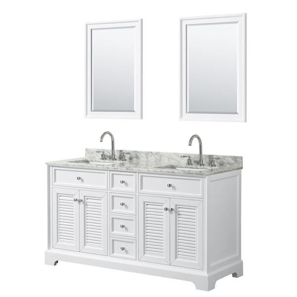 Tamara 60-inch White Double Vanity, Square Sinks, 24-inch Mirrors