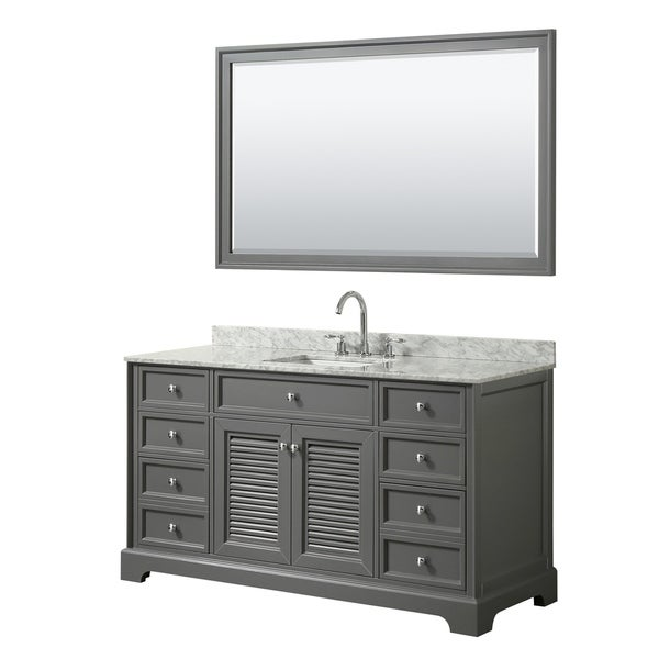 Tamara 60-inch Dark Gray Single Vanity, Square Sink, 58-inch Mirror