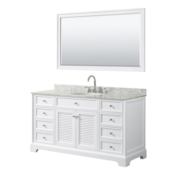 Tamara 60-inch White Single Vanity, Oval Sink, 58-inch Mirror