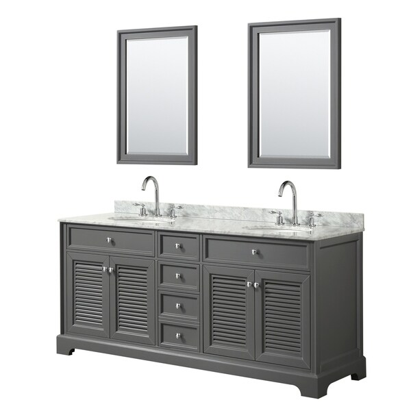 Tamara 72-inch Dark Gray Double Vanity, Oval Sinks, 24-inch Mirrors