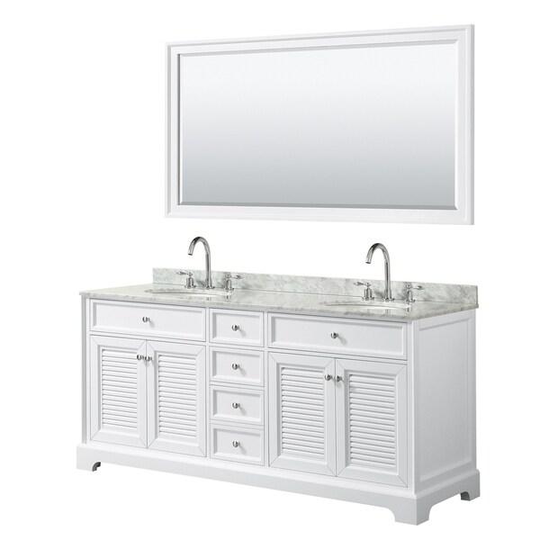Tamara 72-inch White Double Vanity, Oval Sinks, 70-inch Mirror
