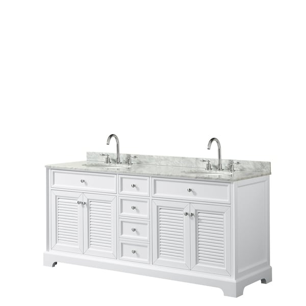 Tamara 72-inch White Double Vanity, Oval Sinks, No Mirror