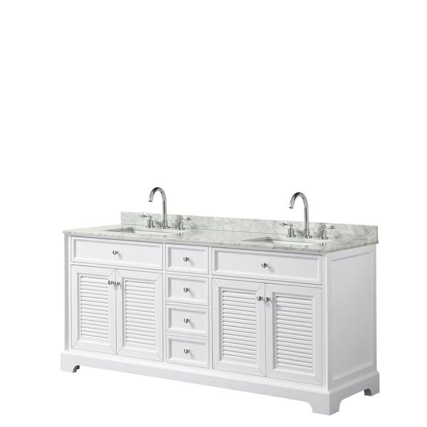 Tamara 72-inch White Double Vanity, Square Sinks, No Mirror