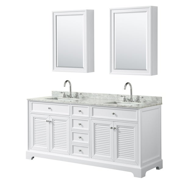 Tamara 72-inch White Double Vanity, Square Sinks, Med Cabs