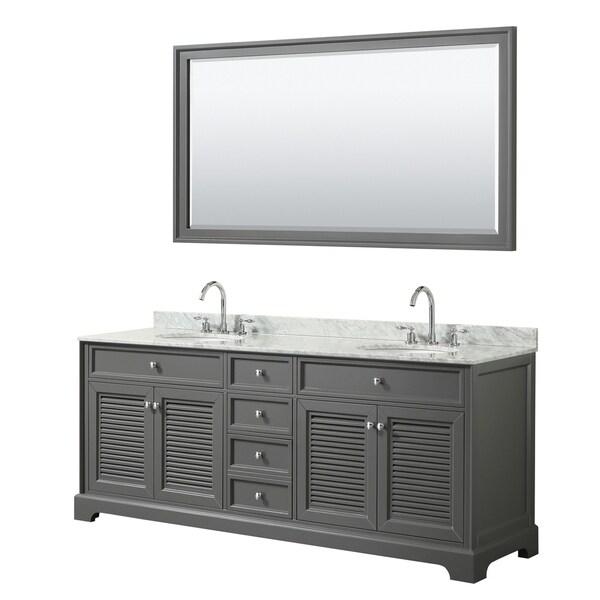 Tamara 80-inch Dark Gray Double Vanity, Oval Sinks, 70-inch Mirror