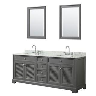 Tamara 80-inch Dark Gray Double Vanity, Square Sinks, 24-inch Mirrors