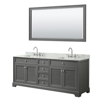 Tamara 80-inch Dark Gray Double Vanity, Square Sinks, 70-inch Mirror