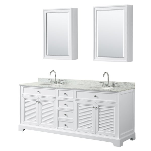 Tamara 80-inch White Double Vanity, Oval Sinks, Med Cabs