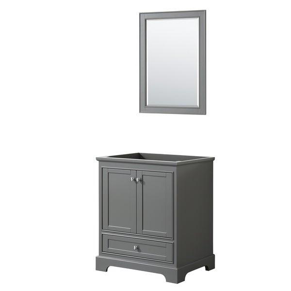 Deborah 30-inch Dark Gray Single Vanity Cabinet, 24-inch Mirror