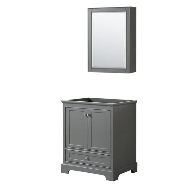 Deborah 30-inch Dark Gray Single Vanity Cabinet, Med Cab