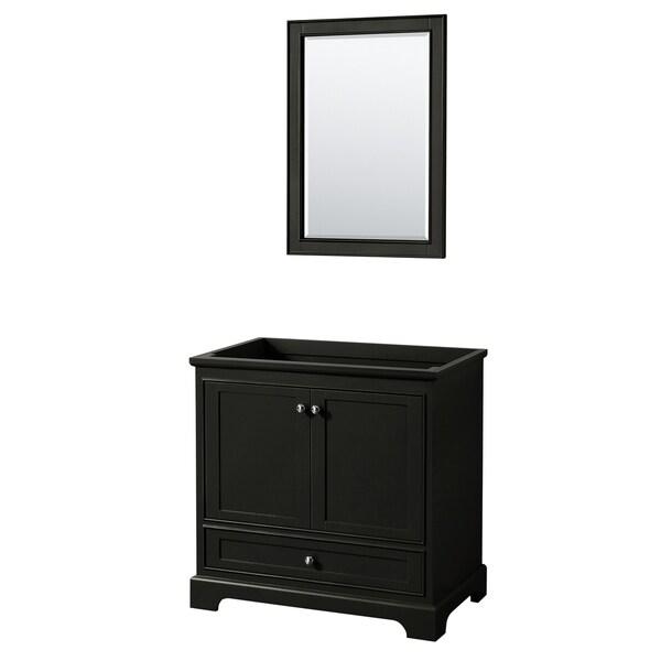 Deborah 36-inch Dark Espresso Single Vanity Cabinet, 24-inch Mirror