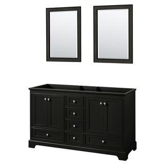 Deborah 60-inch Dark Espresso Double Vanity Cabinet, 24-inch Mirrors