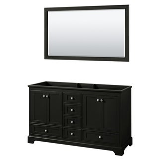 Deborah 60-inch Dark Espresso Double Vanity Cabinet, 58-inch Mirror
