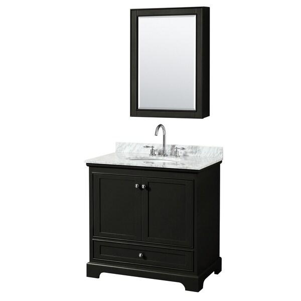 Deborah 36-inch Dark Espresso Single Vanity, Oval Sink, Med Cab