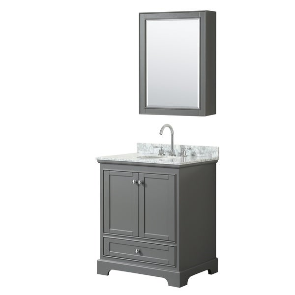 Deborah 30-inch Dark Gray Single Vanity, Oval Sink, Med Cab