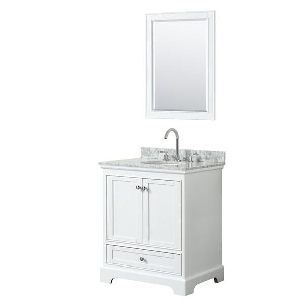 Deborah 30-inch White Single Vanity, Oval Sink, 24-inch Mirror