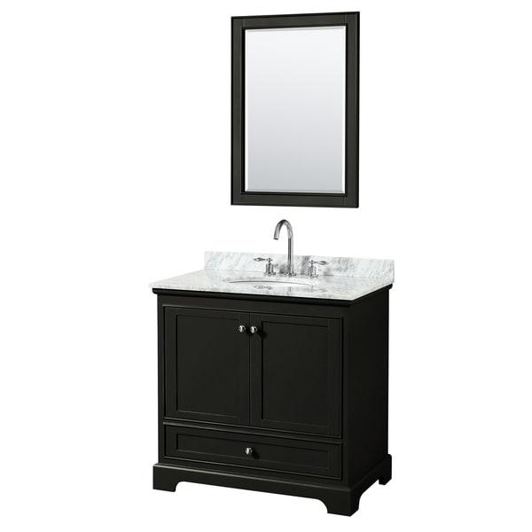 Deborah 36-inch Dark Espresso Single Vanity, Oval Sink, 24-inch Mirror