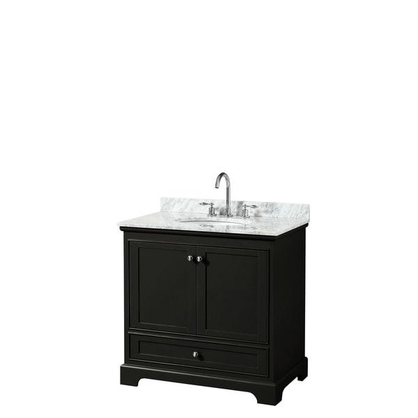Deborah 36-inch Dark Espresso Single Vanity, Oval Sink, No Mirror