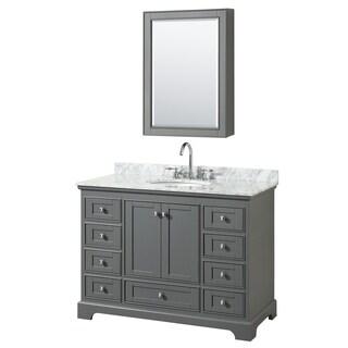 Deborah 48-inch Dark Gray Single Vanity, Oval Sink, Med Cab