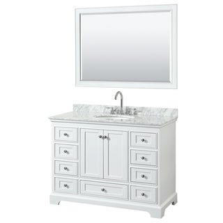 Deborah 48-inch White Single Vanity, Oval Sink, 46-inch Mirror