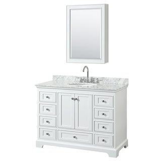 Deborah 48-inch White Single Vanity, Oval Sink, Med Cab