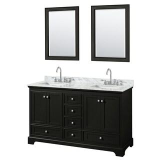 Deborah 60-inch Dark Espresso DBL Vanity, Square Sinks,24-inch Mirrors