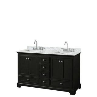 Deborah 60-inch Dark Espresso Double Vanity, Square Sinks, No Mirrors