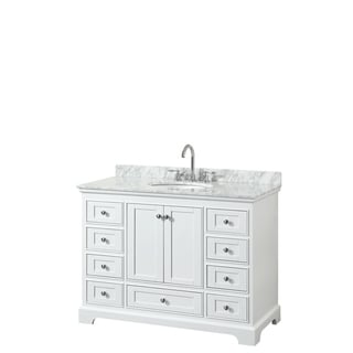 Deborah 48-inch White Single Vanity, Oval Sink, No Mirror