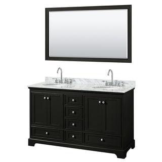 Deborah 60-inch Dark Espresso Double Vanity,Oval Sinks,58-inch Mirror