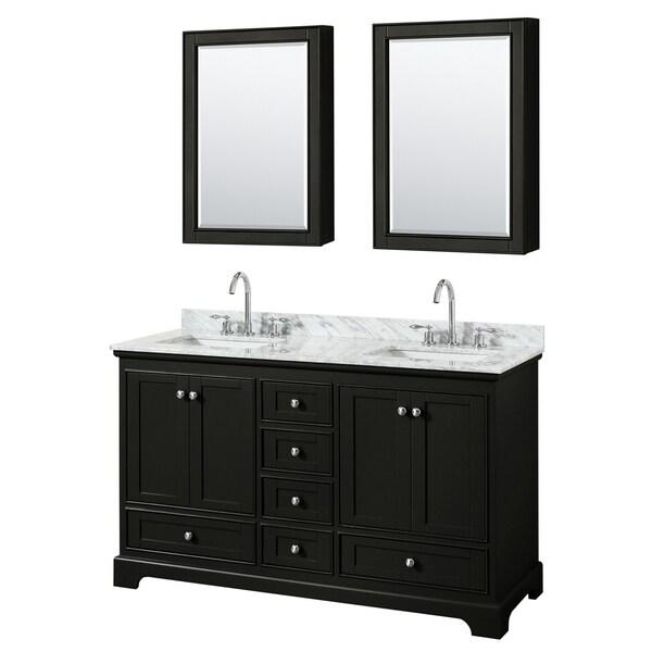 Deborah 60-inch Dark Espresso Double Vanity, Square Sinks, Med Cabs