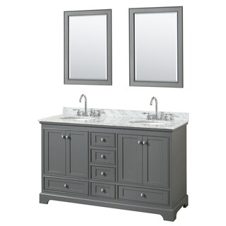 Deborah 60-inch Dark Gray Double Vanity, Oval Sinks, 24-inch Mirrors