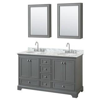 Deborah 60-inch Dark Gray Double Vanity, Oval Sinks, Med Cabs