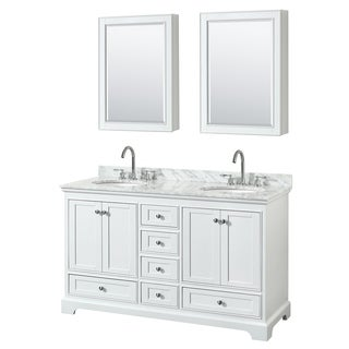 Deborah 60-inch White Double Vanity, Oval Sinks, Med Cabs