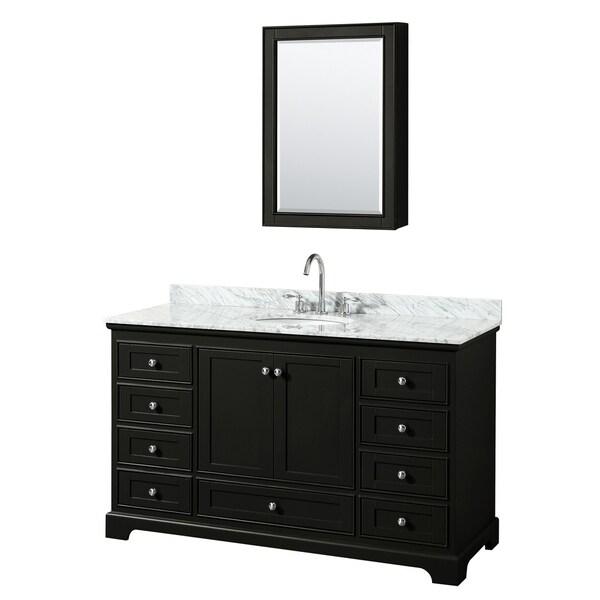 Deborah 60-inch Dark Espresso Single Vanity, Oval Sink, Med Cab