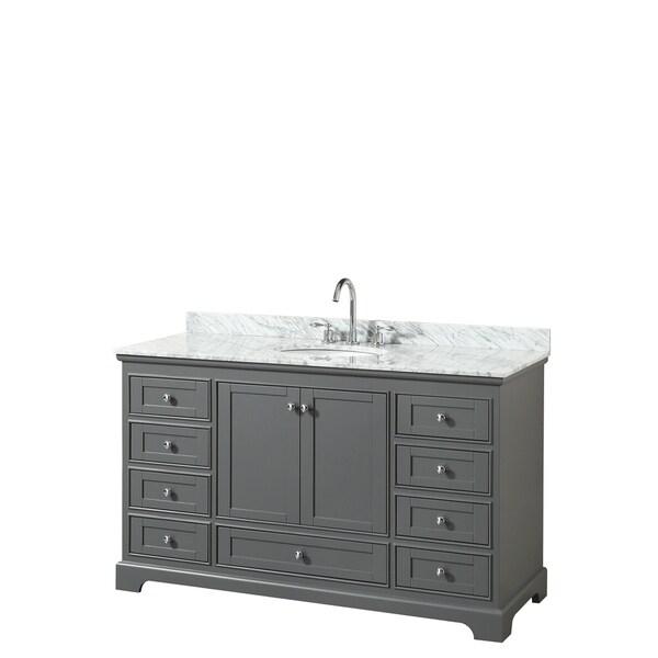 Deborah 60-inch Dark Gray Single Vanity, Oval Sink, No Mirror