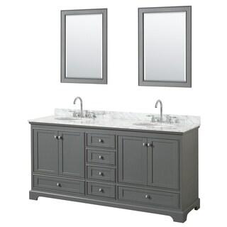 Deborah 72-inch Dark Gray Double Vanity, Oval Sinks, 24-inch Mirrors