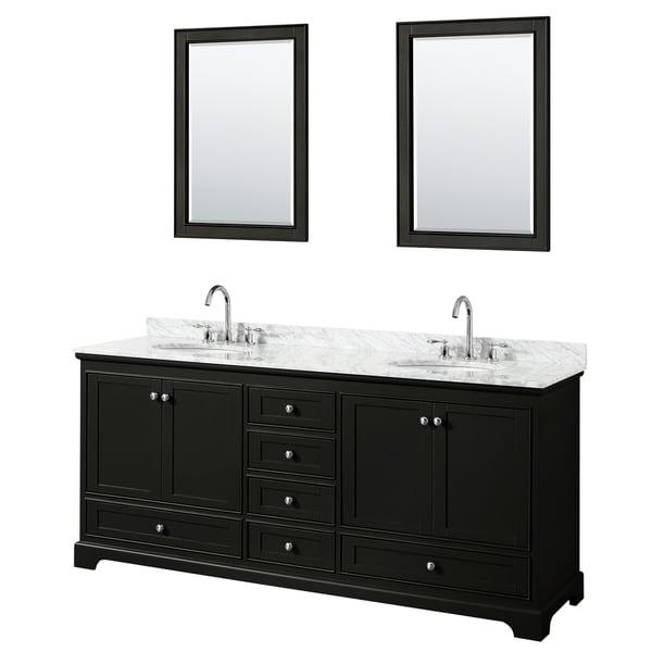 Deborah 80-inch Dark Espresso Double Vanity,Oval Sinks,24-inch Mirrors