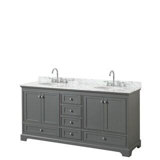 Deborah 72-inch Dark Gray Double Vanity, Oval Sinks, No Mirrors