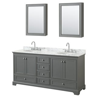 Deborah 72-inch Dark Gray Double Vanity, Oval Sinks, Med Cabs