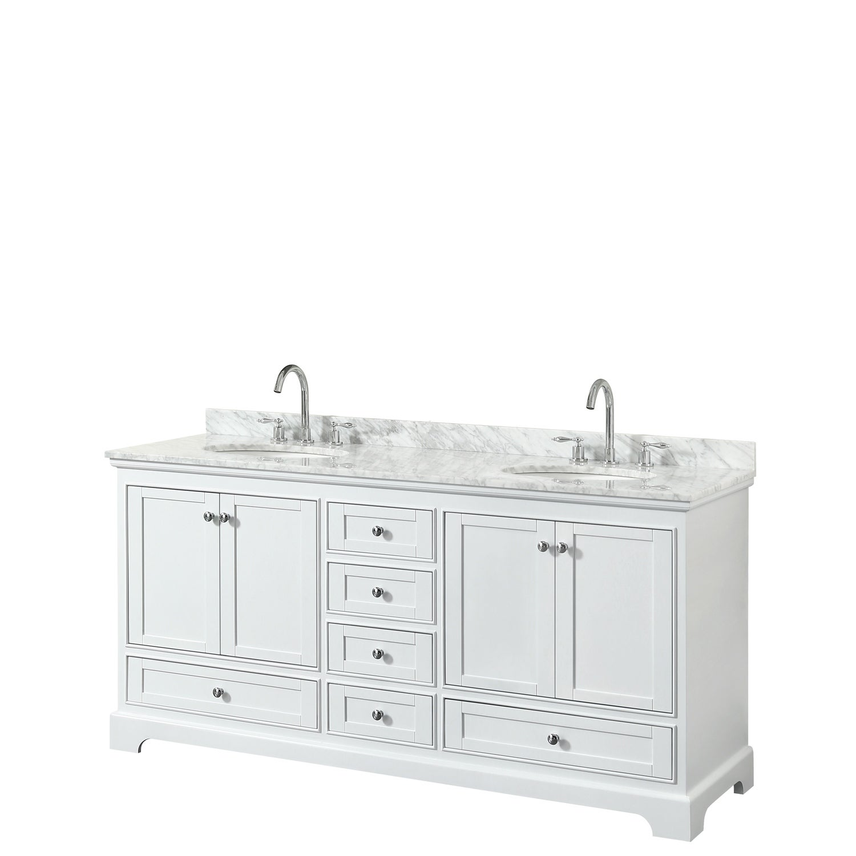 Deborah 72 Inch White Double Vanity Oval Sinks No Mirrors Overstock 25430084