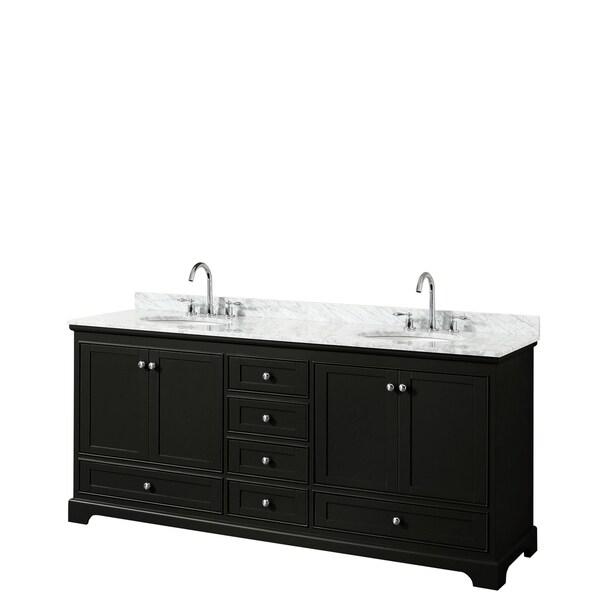 Deborah 80-inch Dark Espresso Double Vanity, Oval Sinks, No Mirrors